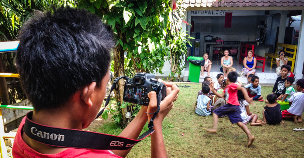 Camera workshop participant at Jodie O'Shea Orphanage, Bali, Indonesia.