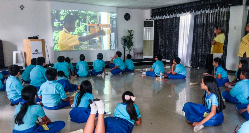 Film screening with students at Children's Paradise Montessori School, Cebu, Philippines.